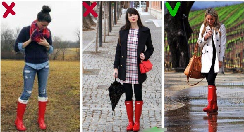 Тренд на красные резиновые сапоги иногда может стать действительно колхозным...