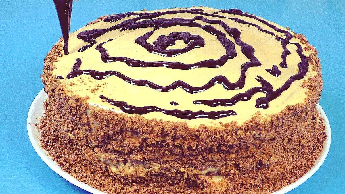 """Шоколадный домашний торт """"Рыжик"""" со сгущёнкой"""