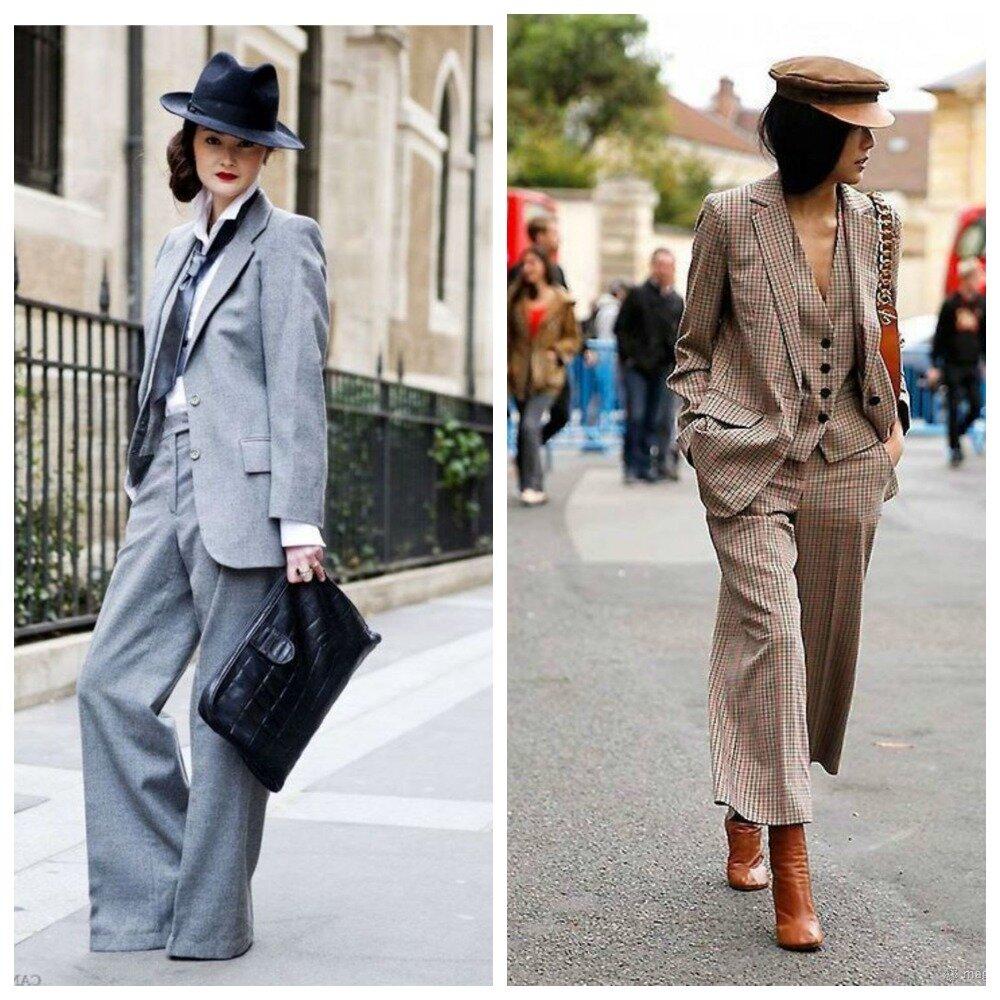 Даже в маскулинном костюме можно выглядеть женственно и элегантно.