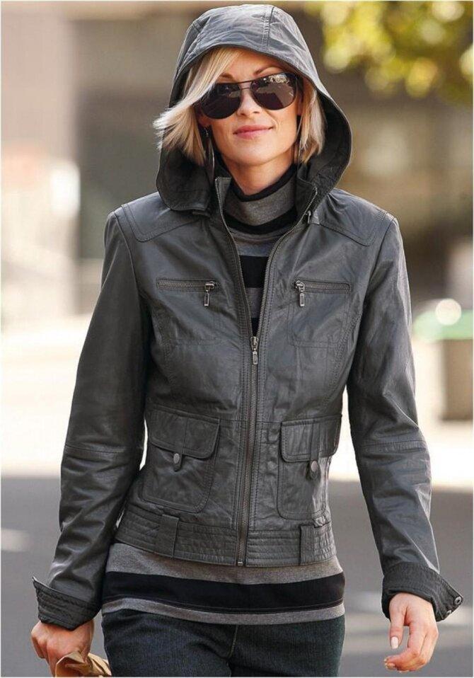 Женщина в кожаной куртке с капюшоном. /Фото: wtalks.com